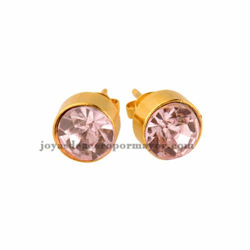 aretes fino de 10mm con brillo de moda en oro laminado para mujer -BREGG72027