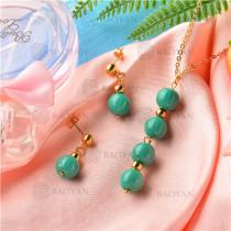 Conjunto de Collar y Aretes de Acero Inoxidable -SSNEG18-9142