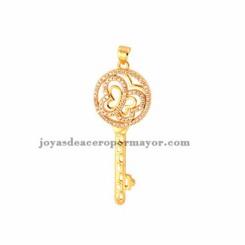 dije de llave con brillo de oro laminado para mujeres -BRPTG72002