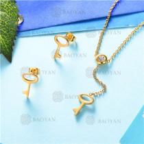 conjunto de joyas acero dorado inoxidable -SSNEG126-9590
