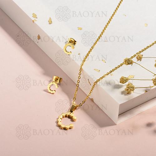 conjunto de collar y aretes en acero inoxidable -SSCSG143-15344