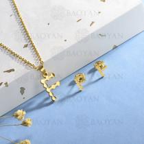 conjunto de collar y aretes en acero inoxidable -SSCSG143-15350