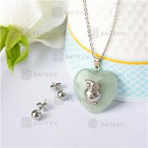 Collar con Aretes con Piedra Natural en Acero Inoxidable -SSNEG143-9465