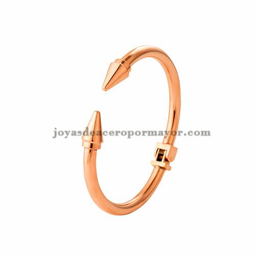 pulsera de clavo de oro rosado en acero inoxidable para mujer-SSBTG403757