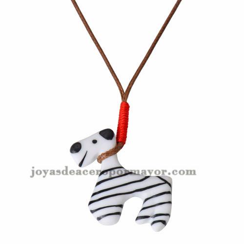 collar cuerda  con dije perro ceramica lindo -ACNEG18036