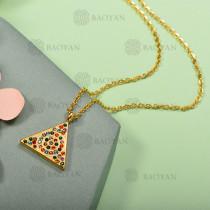 Collar de Acero Inoxidable con Cristal Multicolor -SSNEG143-12578