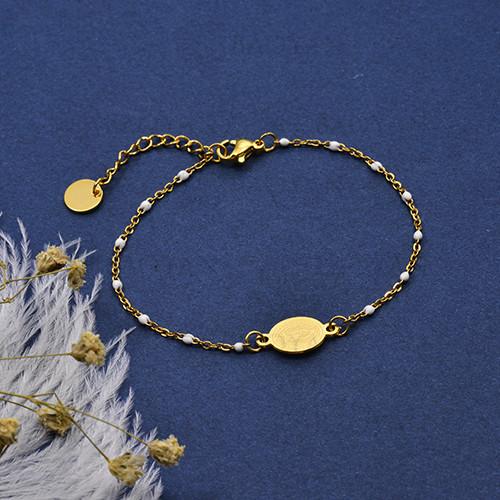 pulsera de Rosario Oro Dorado en Acero -SSBTG95-16109
