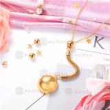 Conjunto de Collar y Aretes de Acero Inoxidable -SSNEG18-9090