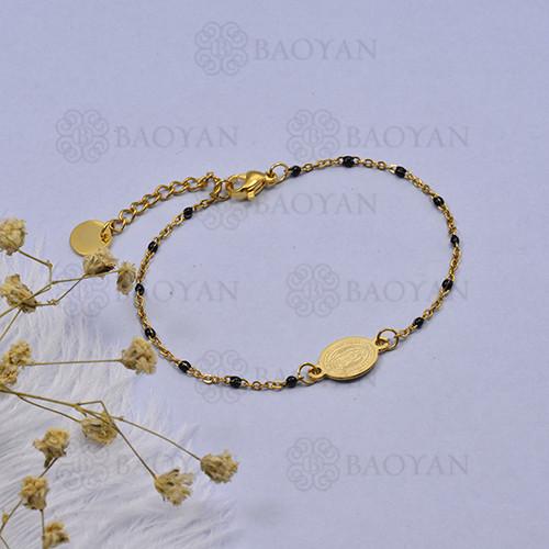 pulsera de Rosario Oro Dorado en Acero -SSBTG95-16106