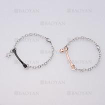 pulseras de pareja de plateado en acero para pareja-SSBTG1125134