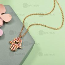 Collar de Acero Inoxidable con Cristal Multicolor -SSNEG143-12585