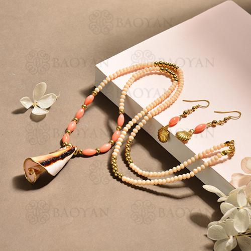 conjunto de collar y aretes en acero inoxidable -SSCSG142-15103