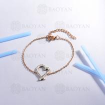 Pulsera de Acero Inoxidable Cristal para Mujer -SSBTG143-14804-R