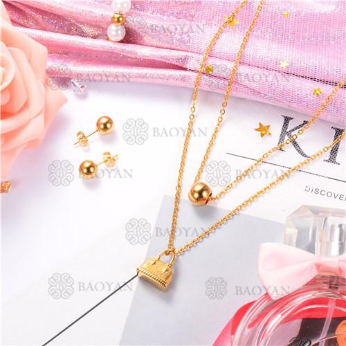 Conjunto de Collar y Aretes de Acero Inoxidable -SSNEG18-9091
