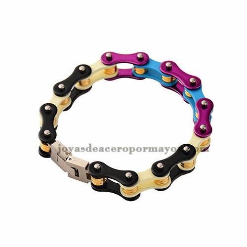 pulsera de titanio en colores del arco iris de acero inoxidable por mayor-SSBTG382335