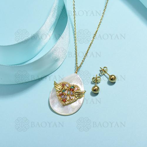 conjunto de collar de bronce y concha -SSCSG107-15854