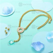 Conjunto de Collar y Aretes en Acero Inoxidable -SSNEG18-6171