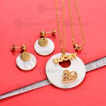 Conjunto de Concha en Acero Inoxidable para Mujer -BRNEG142-750