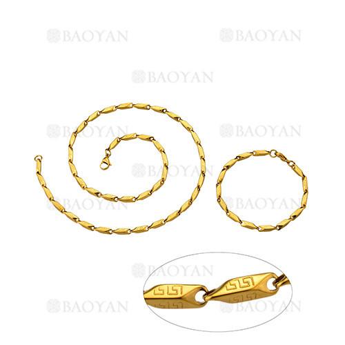 juego de collar y pulsera de dorado en acero para hombre-SSNEG463664