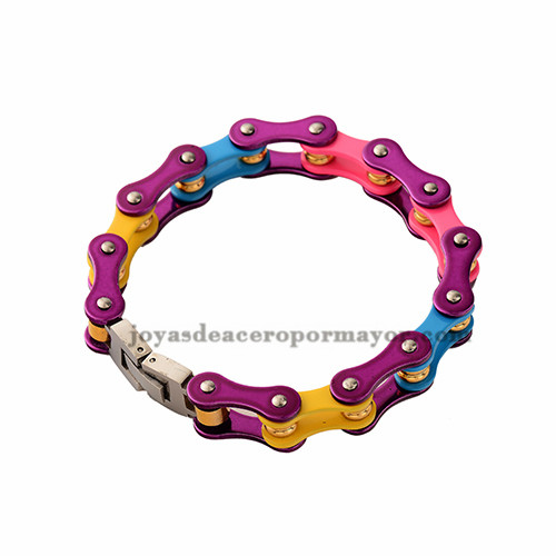 cadena de la bicicleta en colores del arco iris de acero inoxidable por mayor-SSBTG382340