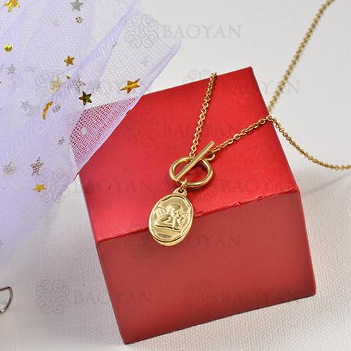 collar de charms moneda en acero inoxidable -SSNEG142-16230