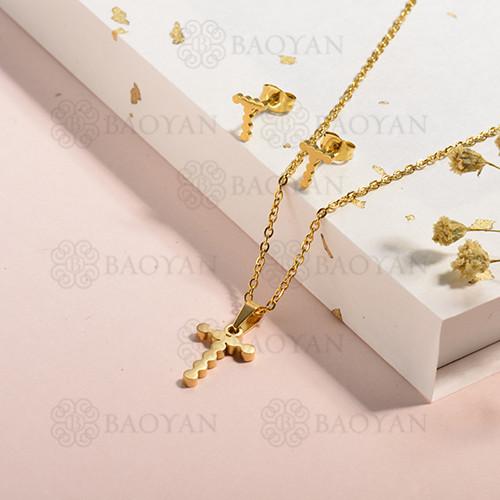conjunto de collar y aretes en acero inoxidable -SSCSG143-15342