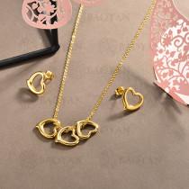 conjunto de collar y aretes en acero inoxidable -SSCSG126-15032