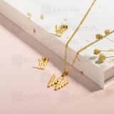 conjunto de collar y aretes en acero inoxidable -SSCSG143-15338