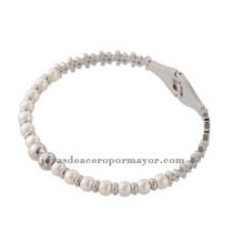 pulsera de bolas de plata mesclar con perlas de acero inoxidable