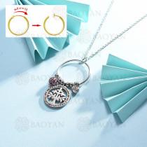 collar de multi color charm DIY en acero inoxidable -SSNEG142-14953