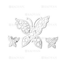 juego colgante y aretes de mariposa tridimensional plateado en acero inoxidable -SSSTG184139