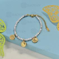 pulseras de bolitas natural con charms -SSBTG142-16193