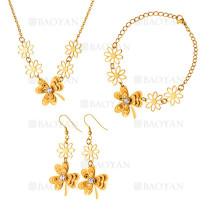 juego collar pendientes y brazalete de trebol moda en acero dorado inoxidable -SSNEG1153598