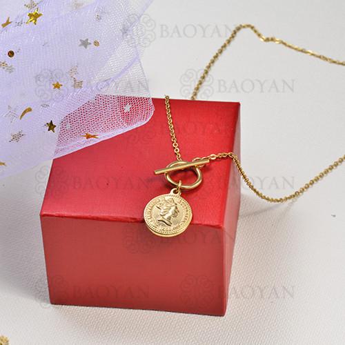 collar de charms moneda en acero inoxidable -SSNEG142-16224