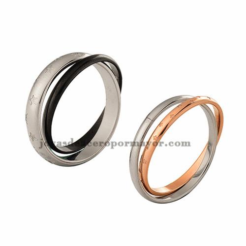 anillos para parejas de estrellas en acero inoxidable de color negro y oro rosado-SSRGG971026