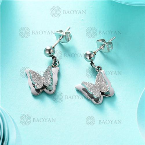 aretes de mariposa en acero inoxidable-SSEGG80-7901