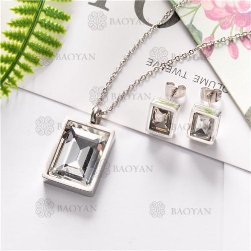 Conjunto de Cristal Blanco con Collar y Aretes para Mujer -SSNEG126-7220