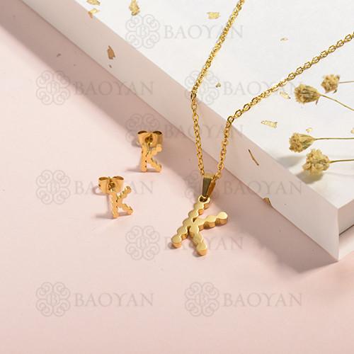 conjunto de collar y aretes en acero inoxidable -SSCSG143-15336