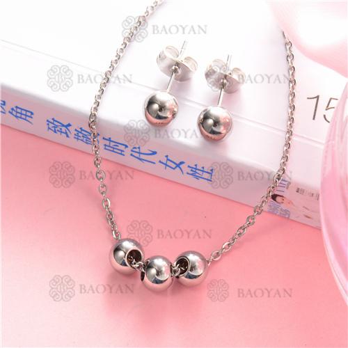 Counjunto de Collar y Aretes en Acero Inoxidable -SSNEG126-6933