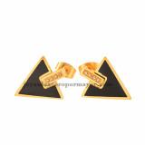pendientes de moda con forma de triangulo dorado de acero inoxidable