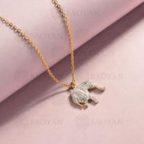 collar de acero inoxidable para mujer -SSNEG143-14829-G