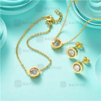Conjunto de Pulsera Collar y Aretes en Acero Inoxidable -SSNEG126-10622