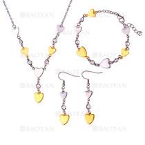 juego collar pendientes y brazalete estilo borla con  corazon plateado y dorado  en acero  inoxidable -SSNEG1153603