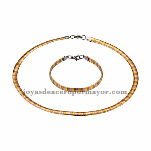gargantilla y brazalete ancho 6mm tres color en acero inoxidable- SSNEG462693
