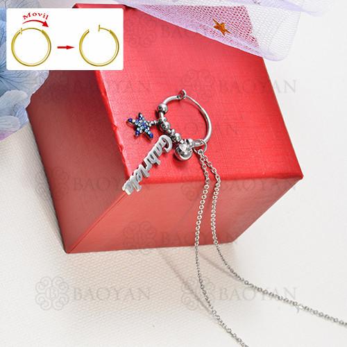 collar de charms DIY en acero inoxidable -SSNEG142-16258