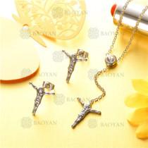 conjunto de joyas acero plateado inoxidable -SSNEG126-9605