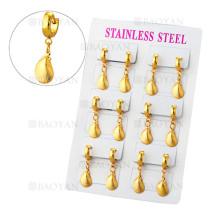 aretes de diseno sencillo en acero de dorado-SSEGG384671
