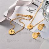 Conjunto de Pulsera Collar y Aretes en Acero Inoxidable -SSNEG126-10515