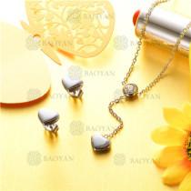 conjunto de joyas acero plateado inoxidable -SSNEG126-9603