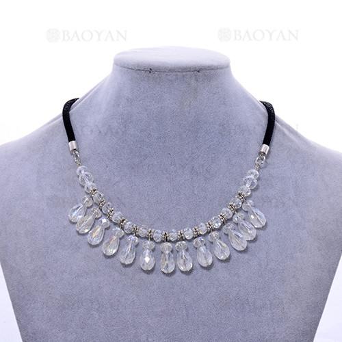 gargantilla linda con cristal blanca para mujer-ACNEG123263
